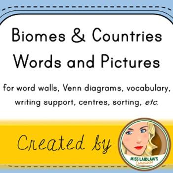 Countries and Biomes - Word Walls, Venn Diagrams, Writing