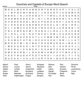 Countries and Capitals of Europe Crossword and Word Search with KEYS
