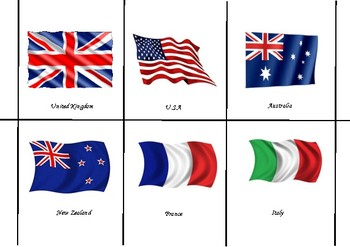 Countries and Nationalities Mix and Match Game