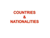 Countries and Nationalities :: Possessive adjectives PPT