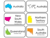 Countries and States of Australia printable Picture Word Flash Cards. Geography.