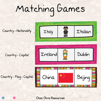 Countries - flags - nationalities: matching games