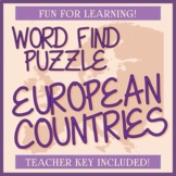 Countries in Europe Word Find / Word Search - Check Out the Shape!