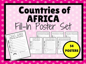 Countries of AFRICA Fill-In Poster Set (54 POSTERS)