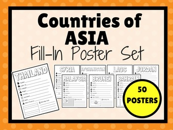 Countries of ASIA Fill-In Poster Set (50 POSTERS)