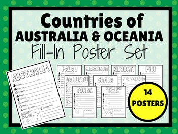 Countries of AUSTRALIA & OCEANIA Fill-In Poster Set (14 POSTERS)