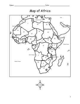AFRICA - Printable handouts with map of Africa and list of countries