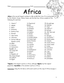 AFRICA - Printable handouts with map of Africa and list of