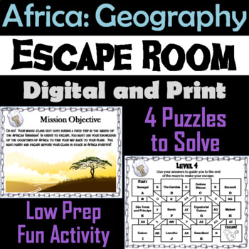 Countries of Africa Geography Escape Room - Social Studies
