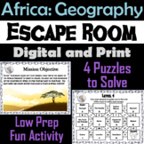 Countries of Africa Geography Activity Escape Room