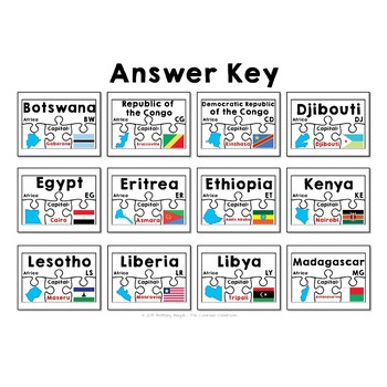 Countries of Africa Geography Puzzles
