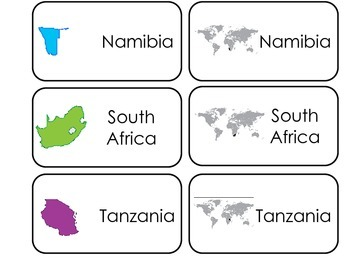 Countries of Africa printable Picture Word Flash Cards. Preschool flashcards.