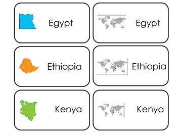 Countries of Africa Flash Cards Kinder Preschool Picture and Word flash cards