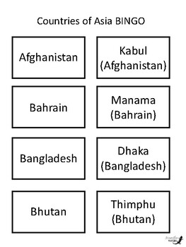 Countries of Asia BINGO!