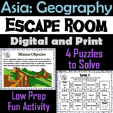 Countries of Asia Geography Activity Escape Room