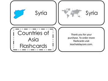 Countries of Asia printable Picture Word Flash Cards.  Social Studies Geography.