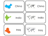 Countries of Asia printable Picture Word Flash Cards.  Soc
