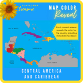 Countries of Central America and Caribbean Islands (Color Revealing Map) - Easy