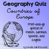 Geography Quiz - Countries of Europe - French, German, Spanish, English