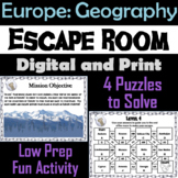 Countries of Europe: Social Studies Escape Room Geography