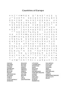 Countries of Europe Word Search