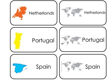 Countries of Europe printable Picture Word Flash Cards. Preschool flashcards.