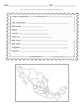 Countries of Mexico Postcard Template