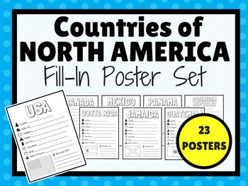 Countries of NORTH AMERICA Fill-In Poster Set (23 POSTERS)