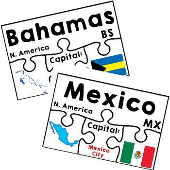 Countries of North America Geography Puzzles