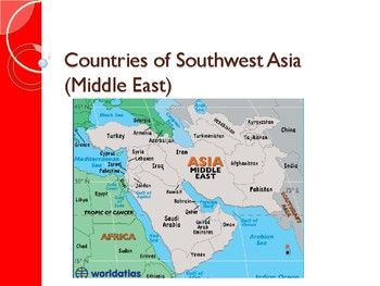 Map Of Asia And Middle East.Countries Of Southwest Asia Middle East