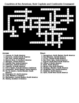 Countries of the Americas, their Capitals and Continents Crossword