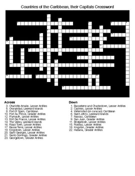 Countries of the Caribbean, their Capitals Crossword & Wor