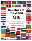 Countries of Asia: flags, capital cities & locations