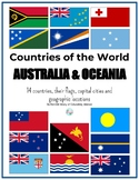Countries of Australia and Oceania: flags, capital cities & locations