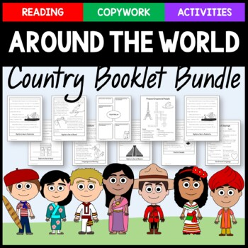 Around the World Bundle - 15 Country Copywork, Activities and Country Booklets
