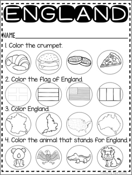 Countries of the World: My Book About ENGLAND * SPECIAL EDUCATION*