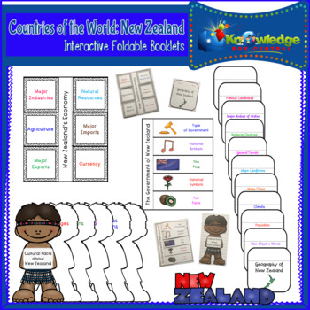 Countries of the World: New Zealand Interactive Foldable Booklets