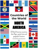 Countries of North America: flags, capital cities, locations