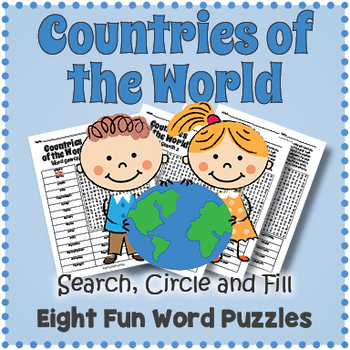 Countries of the World Word Search - 8 Puzzle Pack