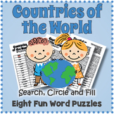 COUNTRIES OF THE WORLD - 8 Word Search Puzzle Worksheet Activities