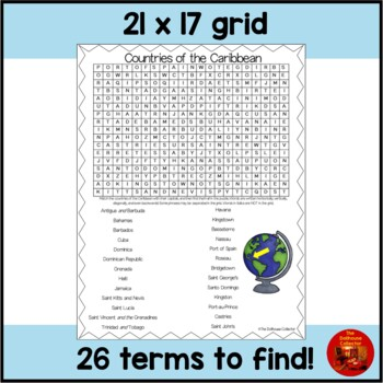 Countries of the World Word Search - CARIBBEAN COUNTRIES (with Answer Key)