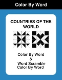 Countries of the world - Color By Word & Color By Word Scramble Worksheets