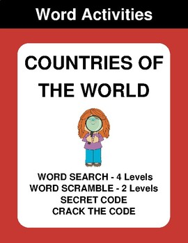 Countries of the world - Word Search, Scramble,  Secret Code,  Crack the Code