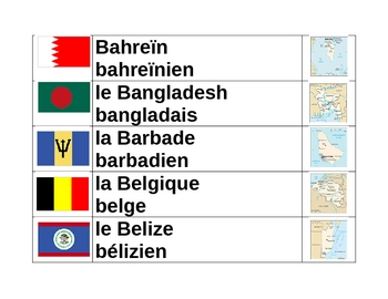 Countries of the World in French Word Wall