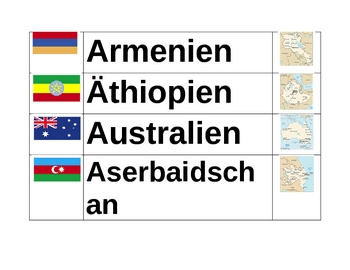 Countries of the world in German Word wall