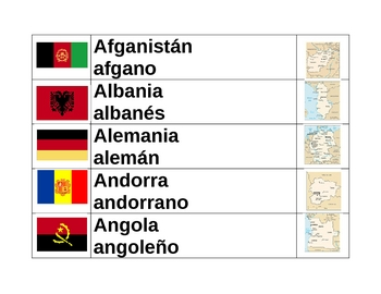 Countries of the world in Spanish Word wall