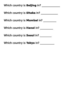 Countries vs. Cities Sort - Asia