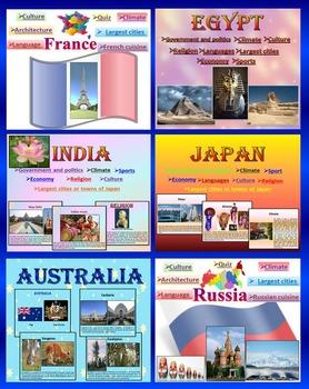 Countries - BUNDLE - Japan - India - Australia - Egypt - Russia -  France