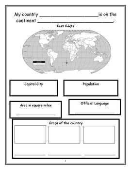 Research a Country Booklet for Elementary Students