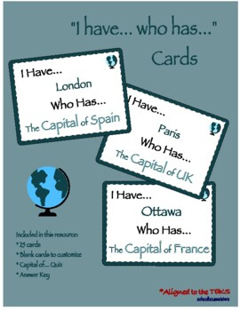 Country Capitals I Have Who Has Game